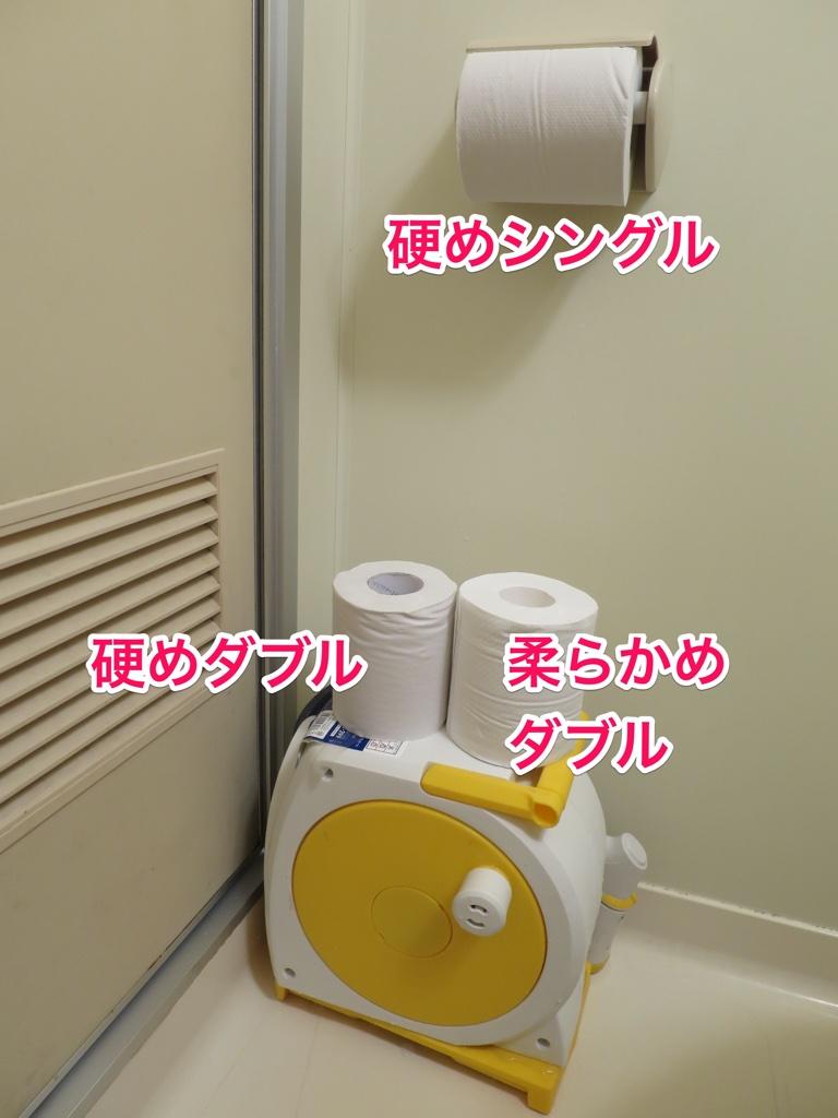 トイレでのトイレットペーパー配置例