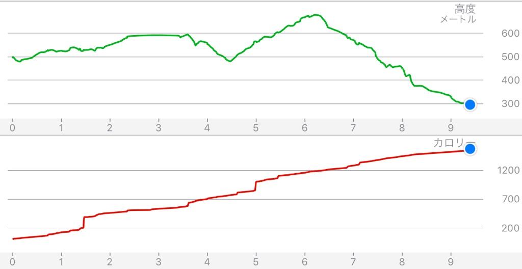 5回目Walkmeterアプリ高低差などのグラフ画面