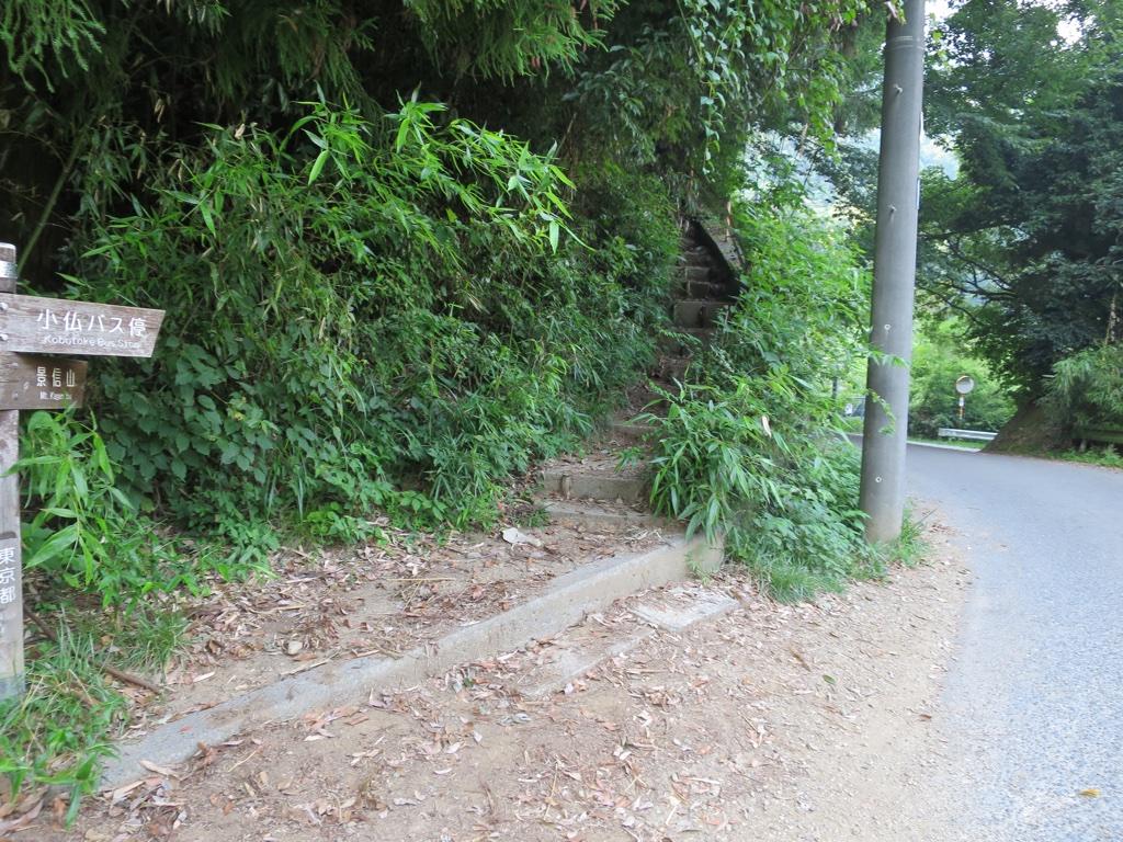 景信山から下りてきた道との合流点