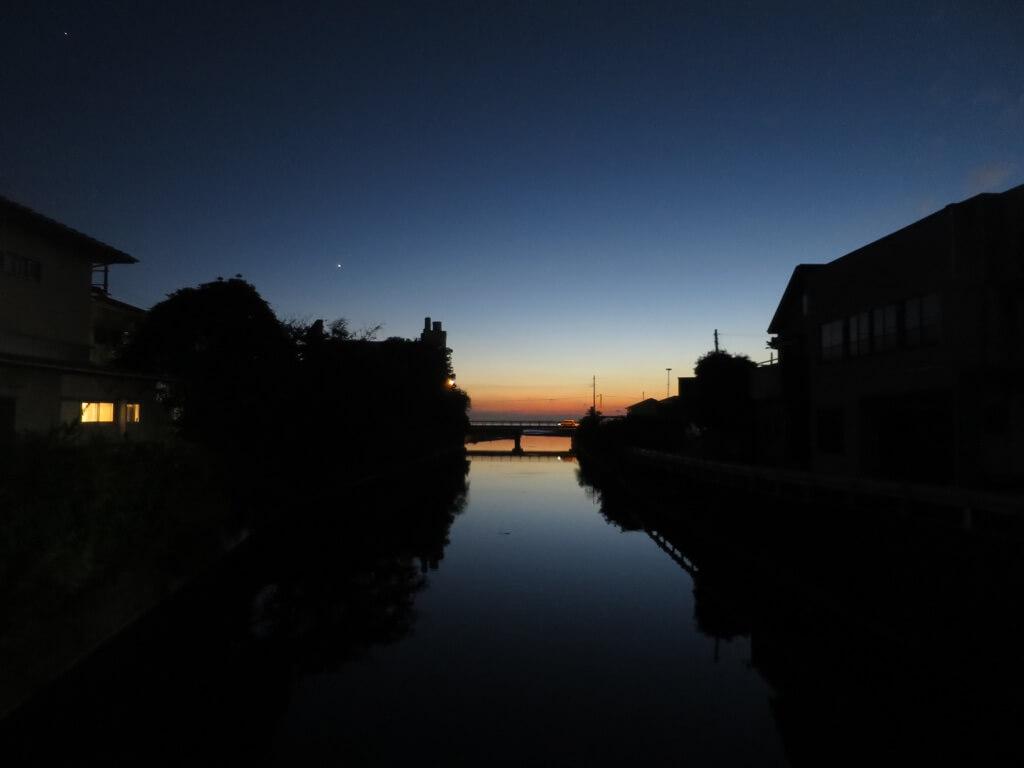 金谷川夕景