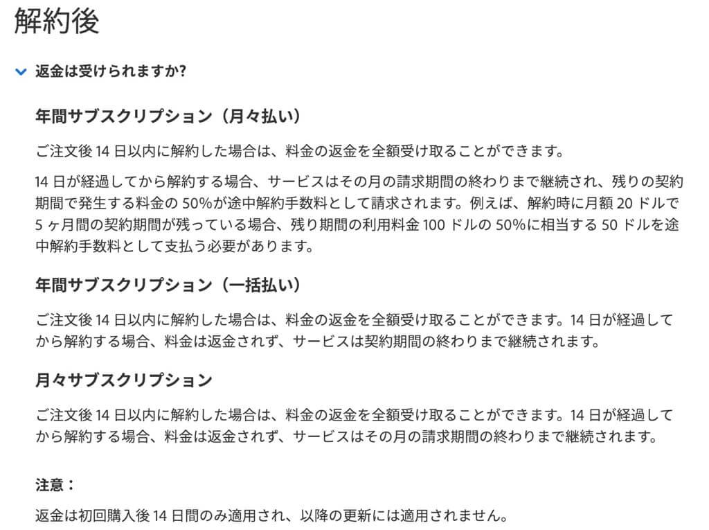 Adobe CC解約後の返金説明
