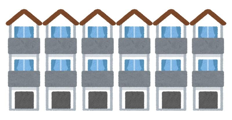 6軒の3階建て住宅