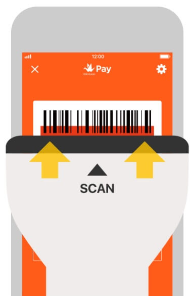Origami Pay バーコード画面をスキャン