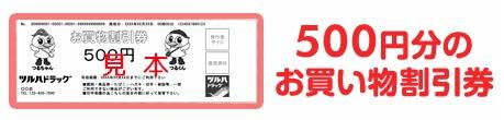 ツルハドラッグ500円分のお買い物割引券